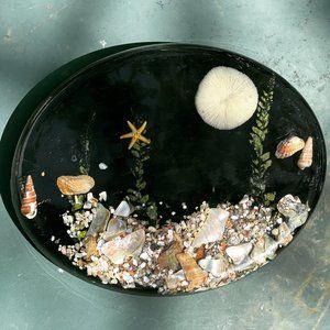Vintage Resin Seashell Trivet Hot Plate MCM